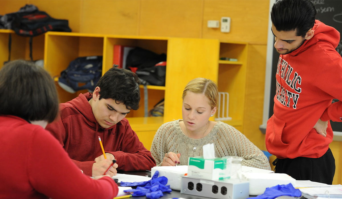 students in biology lab